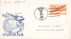 (United States) F/F FAM 22, Miami to Bathurst, cachet, bs 10/12, attractive blue/white souvenir cover with clipper flying over world globe, Pan Am.