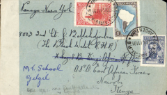 (Argentina) Scarce WWII censored cover, Argentina to East Africa, Buenos Aires to Nairobi, via Leopoldville 28/2/42, addressed toThe Black Watch, APO East Africa Forces, Nairobi, Kenya,. Plain envelope franked 1P, 50c and 30c, ms 'Panagra via New York', sealed B&W OBC 'N (2) Kenya censor stamp. Likely carriers Panagra to Natal/US West Coast, FAM 18 (22) to Leopoldville, and BOAC/Sabena to Nairobi. WWII airmail from Argentina to East Africa is uncommon.