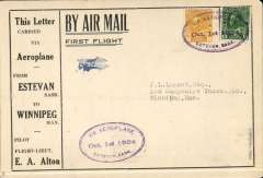 (Canada) F/F Estevan to Winnipeg, bs 1/10, printed souvenir cover advertising the region around Estevan, franked 3c tied three line double-oval flight cachet. The pilot, EA Alton crashed his plane, en route, at Bienfait. Attractive early item.
