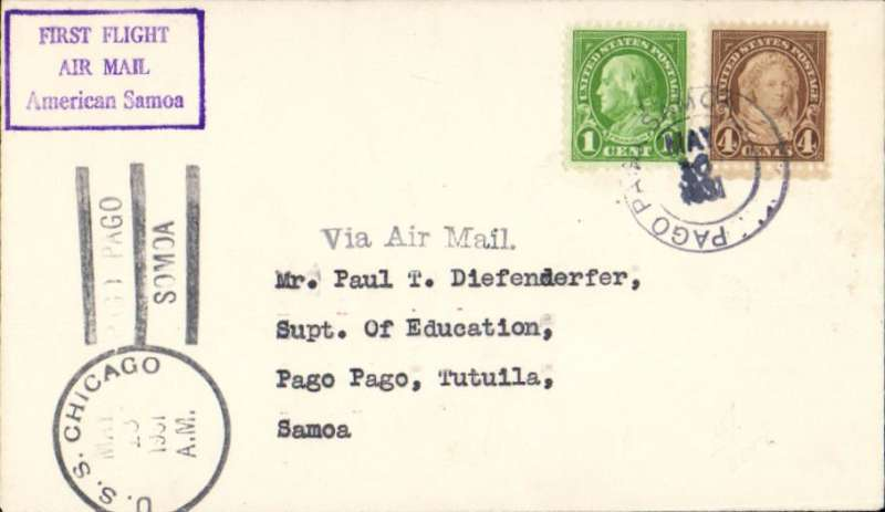 "(United States) First airmail to American Samoa, posted from USS 'Chicago' to PagPago, 16/5 arrival ds, plain cover franked 5c, violet framed ""First Flight/Air Mail/American Samoa""."