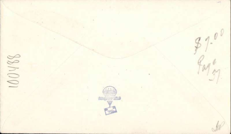 """(United States) First airmail to American Samoa, posted from USS 'Chicago' to PagPago, 16/5 arrival ds, plain cover franked 5c, violet framed """"First Flight/Air Mail/American Samoa""""."""