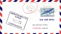 (United States) F/F FAM 24, New York to Copenhagen, large red boxed F/F cachet verso, US Legation/Copenhagen/Feb 4 1946 arrival hs, American Oversesas Airlines
