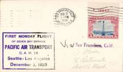 (United States) Pacific Air Transport, first Moday flight of seven day service, Los Angeles to Seattle, plain cover franked 5c air, large violet framed flight cachet.