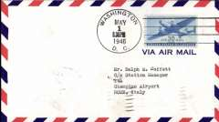 (Italy) Scarce FAM 24, into Rome, bs 6/5 from Washington, airmail cover franked 30c air.Only 23 flown.