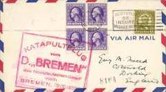 (Ship to Shore) German North Atlantic Catapult Flight, New York to-England, no arrival ds, red framed Bremen 2.8.1929  flight cachet, plain cover franked USA 20c.
