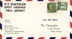 (Ship to Shore) S.S. Isle de France, return first catapult flight piloted by Domergue, New York to Paris, bs Gare du Nord 27/8,  Roessler 'Ship to Shore' printed souvenir cover, franked 26c, canc New York/Foreign oval ds.