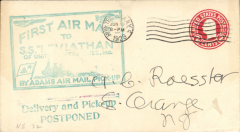 (Ship to Shore) First attempt air mail pick up at sea from SS Leviathan by Adams Air Mail Pick Up, 5c US postal envelope, canc New York cds, large blue/green 'First Air Mail/To/SS Leviathan' cachet. This attempt was unsuccessful so a two line magenta cachet 'Delivery and Pick-up/Postponed' was applied on the front, AAMS #601. There is no toning on the back. What is showing on the scanis an artifact.