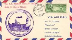 (Ship to Shore) German North Atlantic Catapult Service New York to England, no arrival ds, airmail cover, franked 20c US stamps, fine strikeviolet Bremen twin circle cachet..