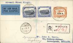(South West Africa) F/F Windhoek to Liverpool (UK) 17/1 and on to Anglesey 18/1, first regular SWAA flight connecting with IAW Capetown-Croydon service, registered (label) cover franked 1/- opt SWA and SWA 3d bilingual pair