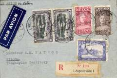 "(Belgian Congo) Leopoldville to Kilosa, Tanganyika Territory, bs 20/4, via Coquilhatville 31/3, Kigoma 18/4, Kigoma-Tabora TPO 19/4, and Tabora-Dar es Salaam TPO 19/4, registered (label) cover franked 7F canc Leopoldville 26.3.35 cds, airmail etiquette, typed 'Par Avion (ms) via Dodoma', and verso attractive blue/white vignette showing head and shoulder engraving of Pasteur and his quotation that ""wine is the healthiest and most hygienic of all drinks"". A great cover with superb routing which travelled 2200 miles to reach its destination. Please NOTE this cover has been opened up and mounted neatly on a black card."
