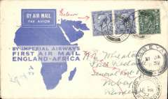 (GB External) Imperial Airways flown cover, carried on First Christmas Flight, London to Mbeya, b/s 18/12, then returned to GB by surface via Mbeya 31/1/32, Dar es Salaam 17/2/32 arriving London 15/3/32, blue/white souvenir 'map' cover, franked 9d.