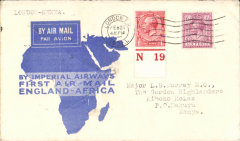 (GB External) Flown cover addressed to Major LG Murray, MC,The Gordon Highlanders, Kiboko Holes, PO Makuyu, Kenya, bs 12/3, carried on Imperial Airways F/F London to Kisumu, bs 10/3 via Nairobi, blue/white souvenir map cover franked 7d. A first flight to an uncommon destination and with a military connection.