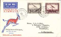 (Belgium) First Belgium acceptance of mail for Southern Rhodesia, carried on IAW Christmas flight England to South Africa, Brussels to Bulawayo, bs 20/12, Springbok cover franked 6.50F, Imperial Airways.