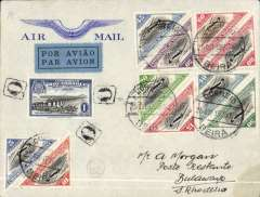 (Mozambique) Beira to Bulawayo, bs 28/10, Imperial Airways ,attractive embossed wing' corner cover, franked Inaugural Blantyre-Beira-Salisbury route set of 10 + 1E Opening of  Zambezi Bridge, canc Beira cds.