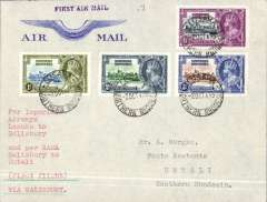 """(Southern Rhodesia) Northern Rhodesia to Southern Rhodesia, Lusaka to Umtali, bs 3/10, Northern Rhodesia acceptance for RANA F/F Salisbury to Umtali, attractive Imperial Airways attractive embossed wing' corner cover, franked N. Rhodesia Silver Jubilee set of 4, typed """"Per Imperial Airways/Lusaka to Salisbury"""" and """"per RANA Salisbury to Umtali (First Flight)."""