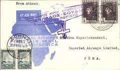 """(Greece) Greece acceptance, cover flown Athens to Khartoum, bs 7/3, and on to Juba, 19/3, carried on  Imperial Airways F/Croydon/Mwanza,  official souvenir blue map cover, franked 86d, violet winged """"Greece-Sudan"""" inauguration cachet."""