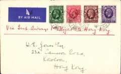 "(GB External) Imperial Airways, London to Hong Kong, bs Hong Kong 24/3, connecting with F/F new Penang-Hong Kong extension, ms ""Via Imperial Airways 1st Flight to Hong Kong, plain airmail etiquette cover franked 6d, canc Reading 11 Mar 1936 cds."