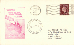 (GB External) Imperial Airways F/F Third Stage EAMS, London to New Zealand, Carterton 18/8 arrival ds on front, franked 1 1/2d, canc Newport cds,