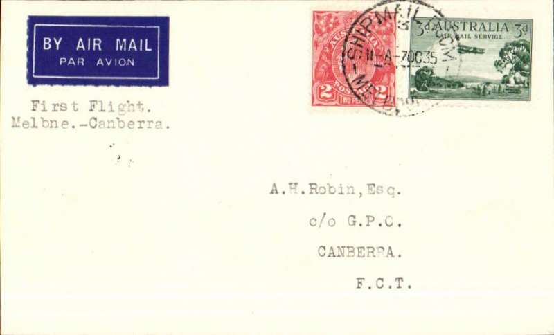 (Australia) Holymans Airways, F/F Melbourne to Canberra, bs 7/10 airmail etiquette cover franked 5d.