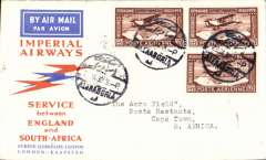 (Egypt) F/F Alexandria to Cape Town, bs 2/2, carried on Imperial Airways 1st flight London to Johannesburg, Springbok souvenir cover franked 27ml x3, cancAlexandria cds. This flight was interrupted twice, first when it had to make a forced landing at Shiwa, having had to overshoot Mpika in bad weather, and again at Broken Hill when the plane was taken out of service to search for the first northbound flight from Cape Town which had crashed at Salisbury, ref Ni 320129A.