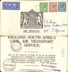 (GB External) England-South Africa Civil Air Transport Contract, 3pp pub HSMO 1930 sent by Smye as printed matter on the Imperial Airways first Christmas Flight, to South Africa, bs Victoria West 21/12, via Johannesburg 21/12, franked 1/-, airmail etiquette. Nice exhibit item.