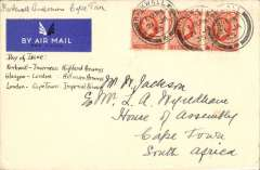 (GB External) Scotland to South Africa, Kirkwall to House of Assembly, Cape Town, bs 'Houses of Parliament' 1 Feb 35, airmail etiquette cover franked FDI KGV 2d SG 442, canc Kirkwall 21 JA 1935 cds. Carried by three different airlines - Kirkwall- Inverness by Highlands Airways, Glasgow-London by Hillman Airways and London-Cape Town by Imperial Airways. One for the exhibit.
