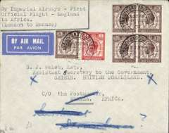 (GB External) Rare acceptance for British Somaliland for carriage on the London-Mwanza leg of the  Imperial Airways inaugural flight from London to East Africa, Portsmouth to Berbera By Sea 30/3, via Mwanza 10/3 and Dar es Salaam 14/3, airmail etiquette cover franked 8 1/2d, addressed to the  Assistant Secretary to the Goverment/Shiek. British Somaliland, c/o the Postmaster, Mwanza. Carried F/F to Mwanza, then by rail to Dar es Salaam, then by sea to Berbera.  A superb item in fine condition and definitely one for the exhibit.