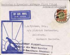 "(Nyasaland) The Nyasaland Feeder Service, Rhodesia and Nyasaland Airways F/F Blantyre to Salisbury, bs 8/3, black framed three line official cachet, Wyndham ""leopard silhouette"" cover franked 4d canc Zomba cds, RANA/IAW."