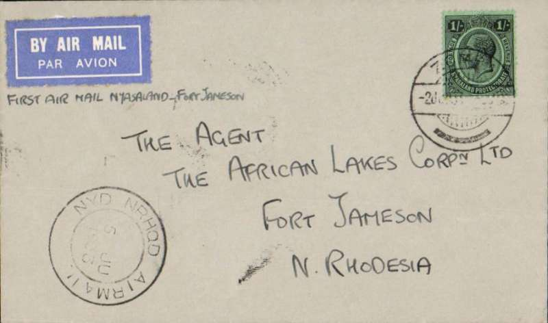 "(Nyasaland) Special RAF Sqn. 6 flight, Zomba to Fort Jamieson, franked 1/- (correct rate), b/s 6/6., special relief cachet ""NYD NRHOD AIRMAIL/5 JU 1933"" cachet applied at Zomba (ref A Philatelic handbook of Nyasaland 1859-1964, Hillman). A similar cover is illustrated in Newall 2nd Edition, p159."