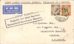 "(Nyasaland) Rhodesia and Nyasaland Airways first direct official airmail from Nyasaland to South West Africa,  Limbe to Windhoek 11/3, via Blantyre 8/3 and Salisbury 8/3, black boxed three line ""First Flight Regular Air Mail Service Nyasaland-Southern Rhodesia"" cachet, airmail etiquette cover franked 7d."