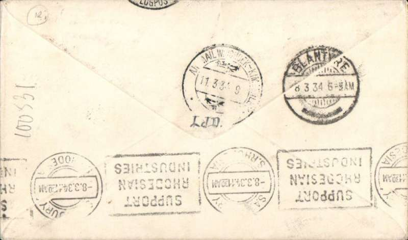 """(Nyasaland) Rhodesia and Nyasaland Airways first direct official airmail from Nyasaland to South West Africa,  Limbe to Windhoek 11/3, via Blantyre 8/3 and Salisbury 8/3, black boxed three line """"First Flight Regular Air Mail Service Nyasaland-Southern Rhodesia"""" cachet, airmail etiquette cover franked 7d."""