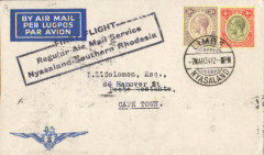 (Nyasaland) Rhodesia and Nyasaland Airways, Limbe to Cape Town 10/3, via Blantyre 8/3 and Salisbury 8/3, carried on first regular airmail service between Nyasaland and South Africa, black boxed three line flight cachet, Imperial Airways cover with blue embossed 'wings' logo in corner franked 7d.
