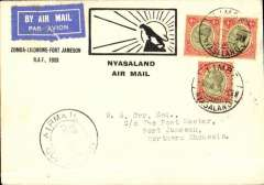 "(Nyasaland) Special RAF Sqn. 6 flight, Zomba to Fort Jamieson, b/s, franked 1/- (correct rate), However this item was unusually posted Limbe 3/6, then put on train in error, see Nyasaland TPO sort cds (4/46) verso, then put off train 30 miles down line at Luchenza, returned 50 miles to Limbe, and then taken by car to Zombe in time to catch plane leaving on 5/6. (Ref A Philatelic handbook of Nyasaland 1859-1964, Hillman). Special souvenir cover ""Zomba-Lilongwe-Fort Jamieson RAF, 1933"", see illus ref 33.07 Newall).  Super item"