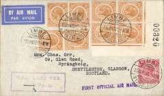 "(Nyasaland) First acceptance of mail from Nyasaland for London, to connect with Imperial Airways inaugural Cape Town-London service, airmail etiquette cover franked 1/1d canc Limbe cds, violet one line ""First Official Air Mail"" flight cachet, also uncommon violet framed ""TPO late Fee/Paid"" hs. Sent by rail from Limbe to Salisbury via Beira, then IAW to London. The flight was INTERRUPTED twice. First the City of Basra was damaged at take of at Salisbury and mail transferred to the City of Delhi which, in turn, had to make an emergency landing due to bad weather near Broken Hill,  when mail was transferred once more, this time to the City of Baghdad on Feb 6th, ref Ni 320129 and 320129B."