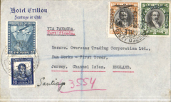 (Chile) Chile to the Channel Islands, Santiago to Jersey via Cristobal 21/3, New York 26/3 and Plymouth, Devon Registered 3/4, Hotel Crillon Santiago corner cover franked $17.10 ($1.20 surface, $1.30 reg fee, $7.30 x2, canc Santiago cds. Scarce destination, great routing.