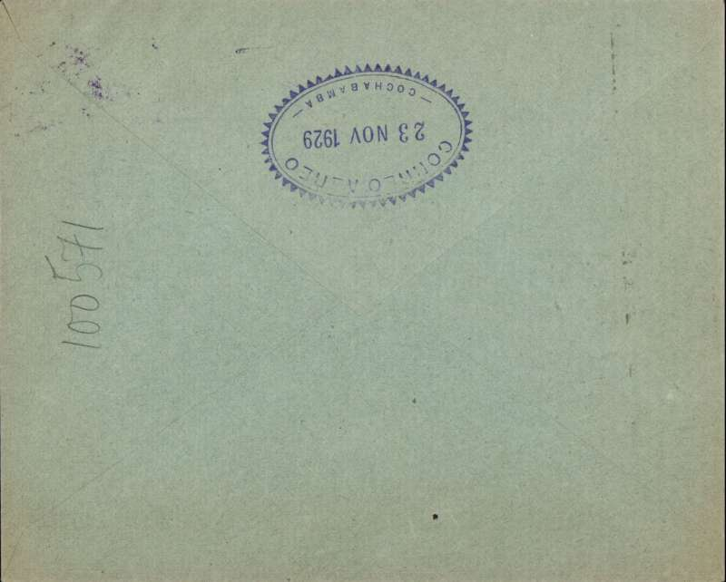 (Bolivia) Development of Domestic Services, F/F La Paz to Cochabamba, bs 23/11, Lloyd Aereo Boliviano company corner cover franked 35S airs and 15c ordinary, blue/black flight cachet.