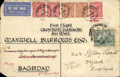 (GB External) Imperial Airways first regular service from the United Kingdom to India. Cover to Baghdad franked 2d x2, 1d x3, cancelled March 28, , on arrival re-addressed to Oxford and franked Iraq 6a cancelled Baghdad April 9, arrival cds of  April 15 verso. Thought to be one of only three round trip covers. Blunt  left hand top and bottom corners.