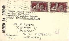 """(Australia) Guinea Airways, one of only three unofficial covers (AAMC #903a) carried on the England to France leg of the record breaking flight from England to Australia, posted on arrival, France 25c x2 canc Bouches-du-Rhפne (Marseilles) pmk, ms """"Guinea Airways Flight/England-Australia/Departure England 29/540/Stage  England-Marseiles"""", small violet 'A/3' ? censor mark, sealed B&W 'Opened By Censor'. Only 3 flown and signed 'D.G. Cameron, Pilot ' across censor tape. An important wartime flight which beat flight beat Scott & Black's record by 1 1/4 hours although the route was 2000 miles longer due to war conditions."""