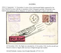 (Algeria) Aero Club de Provence/Compagnie Generale Aerpostale, experimental flight  from Alger to Marseille, bs 20/11/26, and return, franked 50c, red/black 'Par Avion' etiquette tied by special 'winged' flight cachet, also circular and violet hs's, see scan