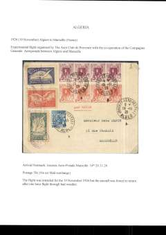 (Algeria) Aero Club de Provence/Compagnie Generale Aerpostale, experimental flight  from Alger to Marseille, bs 20/11/26, franked 50c ordinary and 3 vals (1F, 1.50F and 2F) of the special 'Aero Club de Provence/Marseiille-Alger, tied by special 'winged' flight cachet.