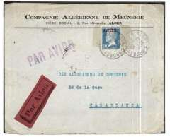 (Algeria) Lignes Aeriennes Latecoere, airmail cover flown from Algiers to Casablanca, Morocco, bs 9/6, via Oran 10/6, franked 25 ordinary and 25c airmail surcharge, red/black airmail etiquette, violet 'Par Avion' hs. Postmark date error, says 1920, should be 1925.