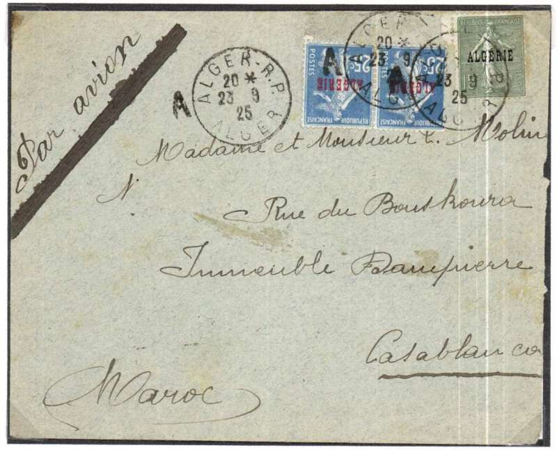 (Algeria) Airmail cover flown from Algiers to Casablanca, Morocco, bs 24/9, franked 40c postage and 25c air surcharge, canc Algiers airmail postmark (used on outward mail only between 1924 and 1925.