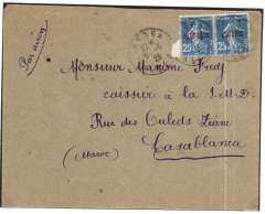 (Algeria) Lignes Aeriennes Latecoere, Algiers to Casablanca, bs 10/5, franked 25c postahe and 25c airmail surcharge.