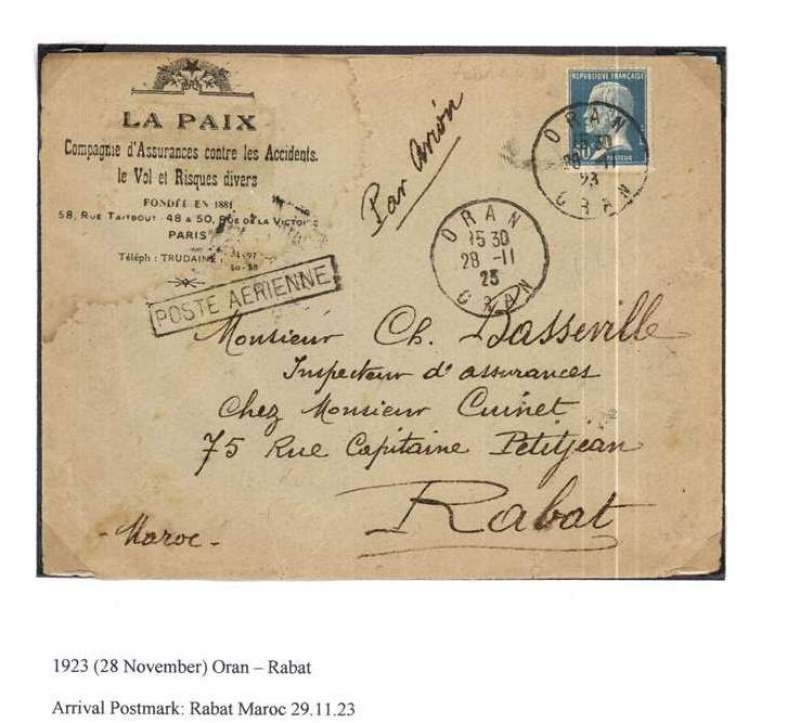 (Algeria) Lignes Aerienne G Latecoere, early airmail flown Oran to Rabat, Morocco, bs 29/11, franked 50c,boxed 'Poste Aerienne' cachet.