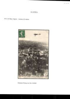 (Algeria) Algiers Aviation Day, a rare early sepia PPC showing Ehrmann flying over the airfield (du Champ de Manouevre), bears part cancelled 5c Sower stamp, see scan.