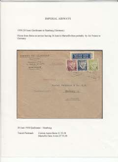 (Mozambique) Imperial Airways/Air France, Quelimane to Hamburg, via Beira 21/6 and Marseille Gare Avion 27/6, exhibition quality commercial corner cover franked 16E, surface to Beira, then Imperial Airways flight DN103 to Marseille and OAT to Germany. Flight DN103 was the first sevice carrying African mail to connect at Alexandria with the first Singapore-Sydney 'C' Class flying boat service, see Wingent p152. A nice exhibit item.