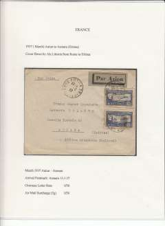 (Lebanon) Lignes Aerienne Militaires (LAM)/Forces Aerienne France Libre, F/F Beyrouth to Brazzaville, Middle Congo, bs 3/11, censored airmail etiquette cover franked 25P, fine strike red framed flight cachet and violet Circle with Cross of Lorraine censor mark. Between 1941 and 1946 Lebanon was under the control of the Free French Forces.