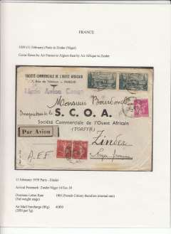 "(French Niger) Air France/Air Afrique, 16x rated and highly franked SCOA commercial corner cover flown into Zinder, 14/2 arrival cds, from Paris, correctly rated 1F60 ordinary (French Colony therefore internal rate) and 2X 20f (1938 St Malo airmail surcharge (16 x 2F50 per 5g),uncommon violet straight line ""Ligne Avion Congo"" hs, pale grey/black airmail etiquette. An exhibition quality cover written up on display page with nice route, airline carrier and postage rate documentation."