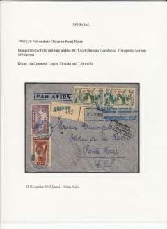 (Senegal) Scarce F/F military airline R.O.T.A.M. (Resau Occidental Transports Aeriens Militaires), censored registered (label) airmail cover, Dakar to Pointe Noire, Middle Congo, bs 28/11/1943, dual franking 2F50 Senegal and 5F x2 Mauritania opts, canc blue ?21 Nov Senegal cds (20% legible), blue four line inauguration flight cachet (25% legible), black circular Senegal Commission B (Dakar) censor mark. Flown via Cotonau, Lagos, Douala and Libreville.