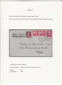 (French Somali Coast) Air France/Ala Littoria,inward to Djibouti, 15 Fev 38 arrival ds from Paris, airmail etiquette cover correctly rated 65c postage and 4F airmail surcharge, written up on exhibition page. Flown by AL to Asmara (Eritrea) then on to Djibouti.  An exhibition quality cover written up on display page with nice route, airline carrier and postage rate documentation.